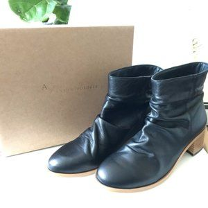 NEW Anthropologie Black Leather Booties Size 10.5